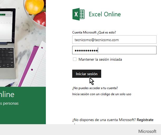 Entrando credenciales para acceder Microsoft Excel Online