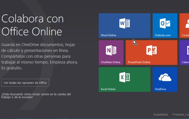 Página oficial de los apps de Microsoft Office Online