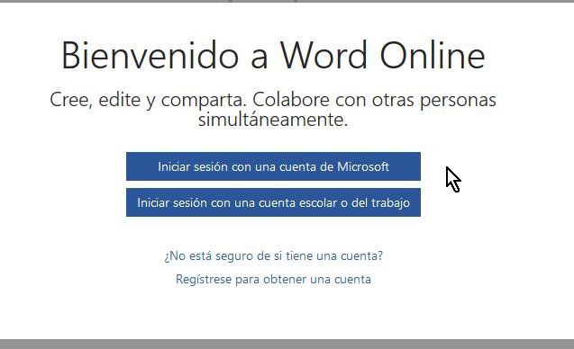 Iniciar sesión para usar Microsoft Word Online