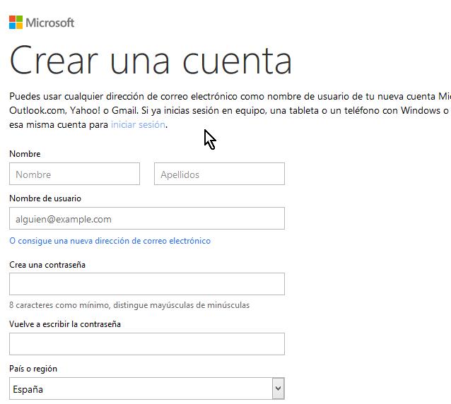 Creando cuenta de Microsoft para usar Word Online