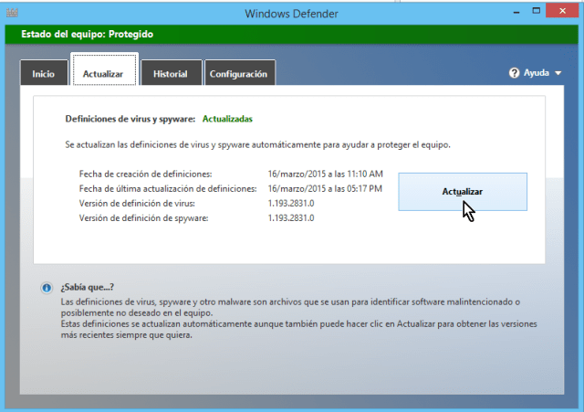 "Cómo usar el antivirus de Windows - Cómo actualizar ""Windows Defender"""