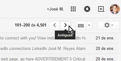 """Cómo ver los mensajes más antiguos en Gmail - Navegación a entradas """"Antiguas"""""""
