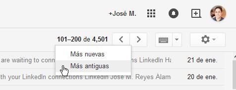 """Cómo ver los mensajes más antiguos en Gmail - Navegación a las entradas """"Mas antiguas"""""""