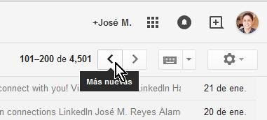 Cómo ver los mensajes más nuevos en Gmail - Flecha de navegación para correos más nuevos