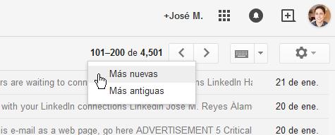 """Cómo ver los mensajes más nuevos en Gmail - Dale clic a la opción """"Mas nuevas"""""""