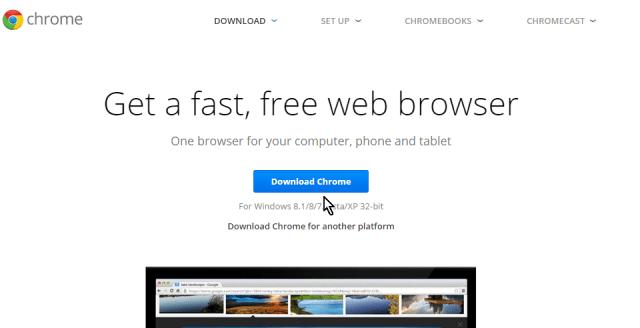 Botón para descargar el navegador Google Chrome