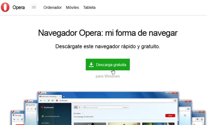 Página para descargar Opera en español