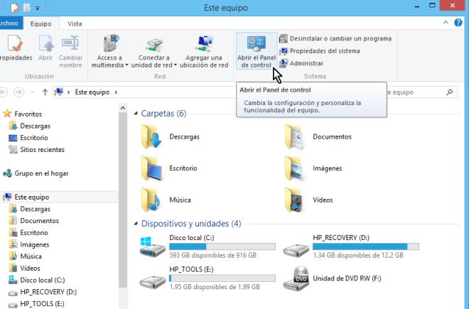 Accediendo el Panel de control desde el Explorador de archivos