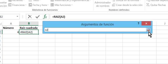 Selección de celda con el número en cómo calcular la raíz cuadrada en Excel