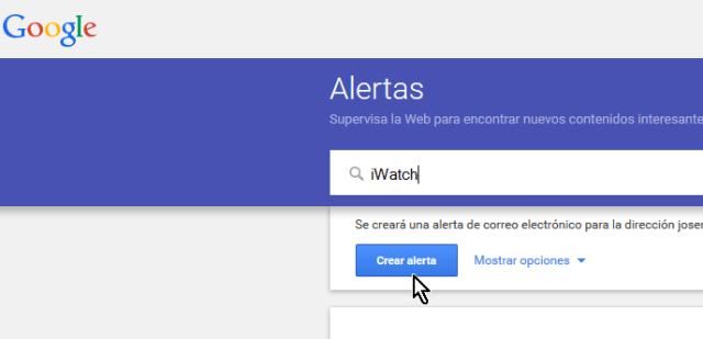 Caja de texto para tema de alerta en cómo crear alertas de Google