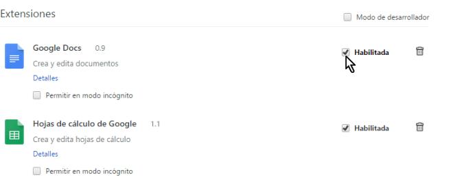 Casilla Habilitar desmarcada en cómo deshabilitar extensiones de Google Chrome