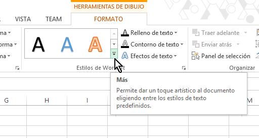 Flechita para mostrar estilos de WordArt en cómo insertar WordArt en Microsoft Excel