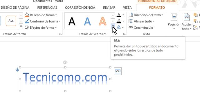 Cambiando el estilo del WordArt en Microsoft Word