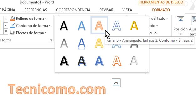 Nuevo estilo de WordArt seleccionado en Microsoft Word