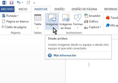 Botón para cómo insertar imágenes en Microsoft Word de la computadora