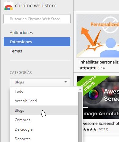 Navegando las extensiones disponibles en cómo instalar extensiones para Google Chrome