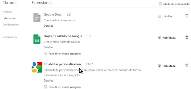 Lista de extensiones instaladas en cómo instalar extensiones para Google Chrome
