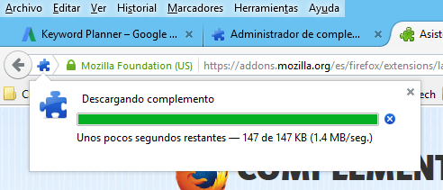 Indicador de descarga de la extensión en cómo instalar extensiones para Mozilla Firefox
