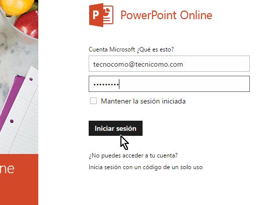 Pantalla para entrar los credenciales de la cuenta de Microsoft para usar Powwe Point online