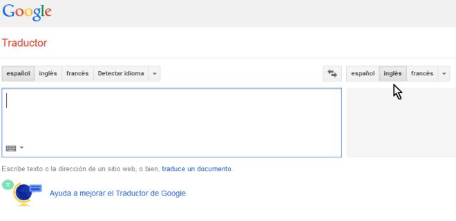 Botón inglés como idioma destino en cómo usar el traductor de Google en español