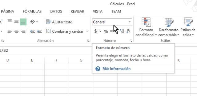 Sección Número de la pestaña Inicio en cómo calcular porcentajes con Excel