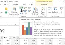 Botón Insertar gráficos de columnas en cómo hacer gráficas de columnas en Excel 2013