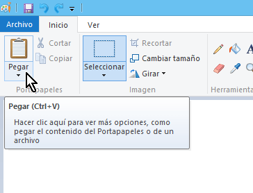Botón Pegar del programa Paint en cómo hacer una captura de pantalla de forma libre