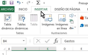 Pestaña Insertar en cómo hacer una gráfica circular Excel 2013