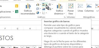 Botón Insertar gráfico de barras en cómo hacer una gráfica de barras en Excel 2013