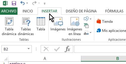 Pestaña Insertar en cómo insertar imágenes en Excel