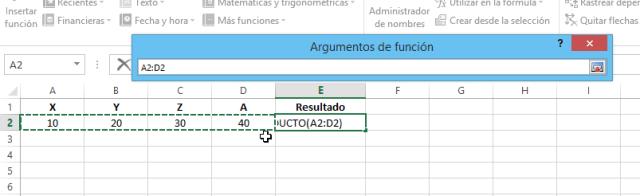 Selección de celdas para la función Producto en cómo multiplicar en Excel