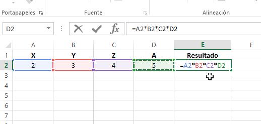 Ejemplo de multiplicación con mas de 2 referencias a celdas en cómo multiplicar en Excel
