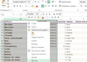 Cómo ocultar y mostrar columnas en Excel
