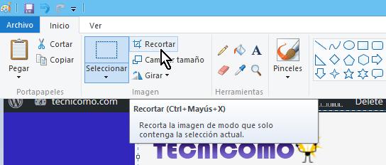 Botón para recortar la seleccion de la pantalla en Paint en cómo tomar una captura de pantalla parcial