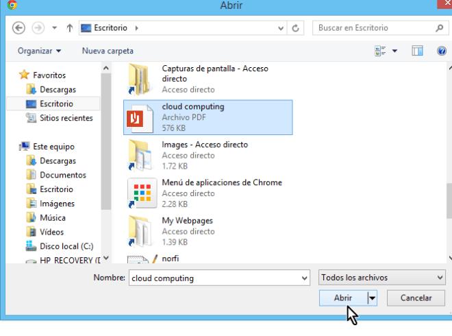 Buscando el archivo en el explorador y abriéndolo en cómo traducir documentos con el traductor de Google