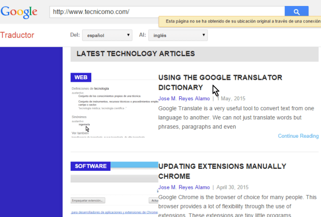 Página web traducida de inglés a español en cómo traducir páginas web con el traductor de Google