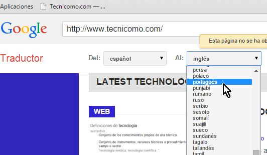Cambiando el idioma a traducir  en cómo traducir páginas web con el traductor de Google