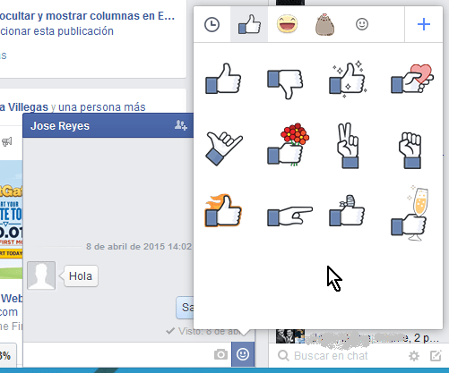 Stickers que Facebook incluye por defecto en cómo usar los stickers de Facebook