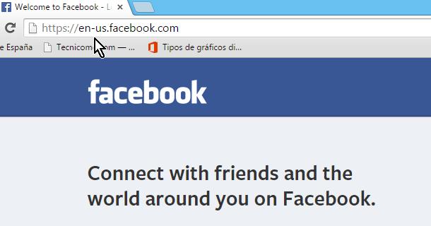 Página principal de Facebook en inglés estadounidense en cómo abrir Facebook en Español