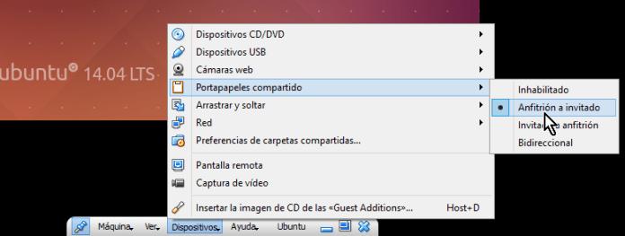 Opciones de compartir portapapeles desde la barra de herramientas en cómo compartir el portapapeles en VirtualBox