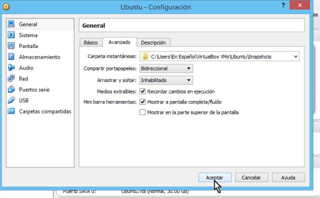 Botón Aceptar para realizar cambios en cómo compartir el portapapeles en VirtualBox