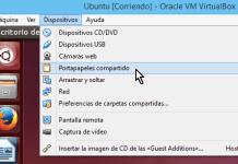 Opción Portapapeles compartido en cómo compartir el portapapeles en VirtualBox