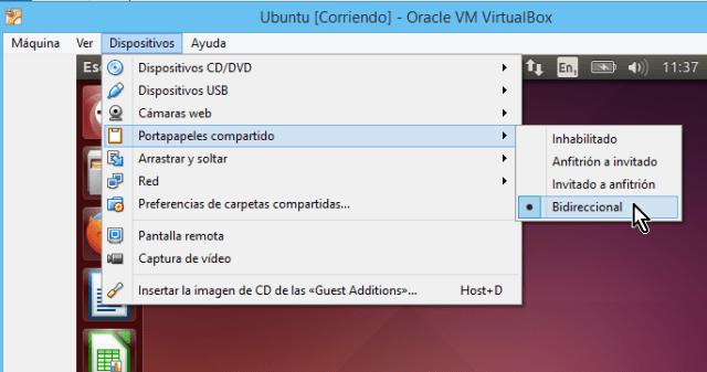 Opcines para compatir portapapeles en cómo compartir el portapapeles en VirtualBox