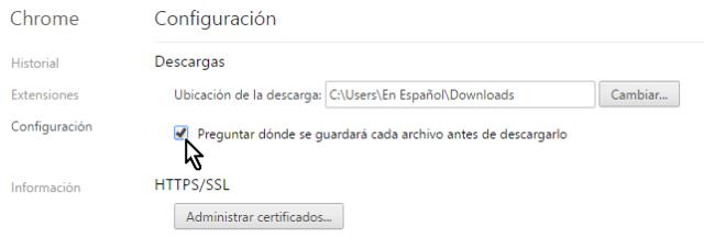 Casilla para indicarle a Chrome que pregunte antes des descargar en cómo configurar Chrome para preguntarme antes de descargar un archivo