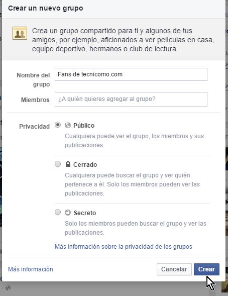 Botón para crar el grupo en cómo crear un grupo privado en Facebook