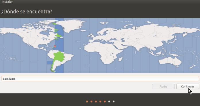 Selección de localización en cómo crear una máquina virtual de Ubuntu en VirtualBox
