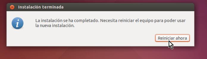 Botón para reiniciar Ubuntu post instalación en cómo crear una máquina virtual de Ubuntu en VirtualBox