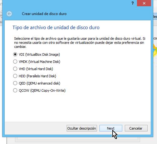 Selección de tipo de disco duro virtual en cómo crear una máquina virtual de Ubuntu en VirtualBox