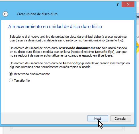 Selección de almacenamiento en el disco duro físico en cómo crear una máquina virtual de Ubuntu en VirtualBox