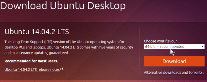 Selección de arquitectura entre 32-bit y 64-bit en cómo descargar Ubuntu ISO en español gratis
